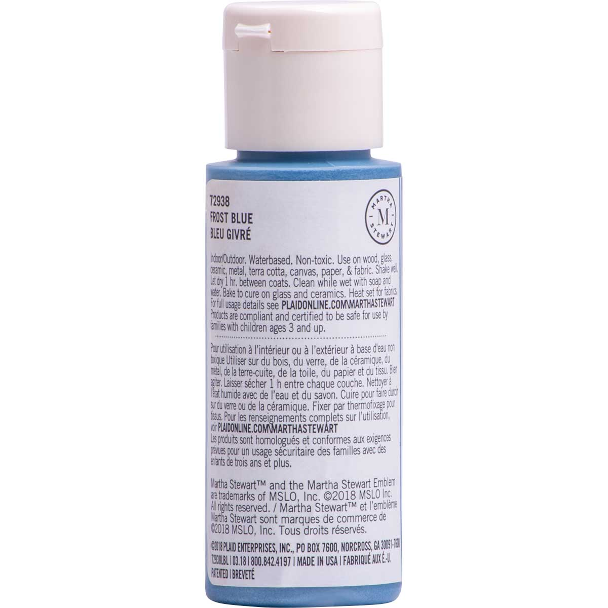 Martha Stewart ® Multi-Surface Pearl Acrylic Craft Paint CPSIA - Frost Blue, 2 oz. - 72938