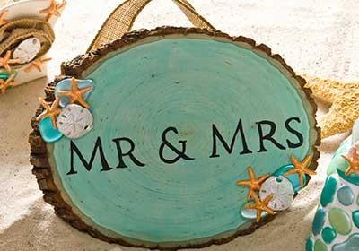 Wood Mr. & Mrs. Wedding Sign for a Beach Wedding