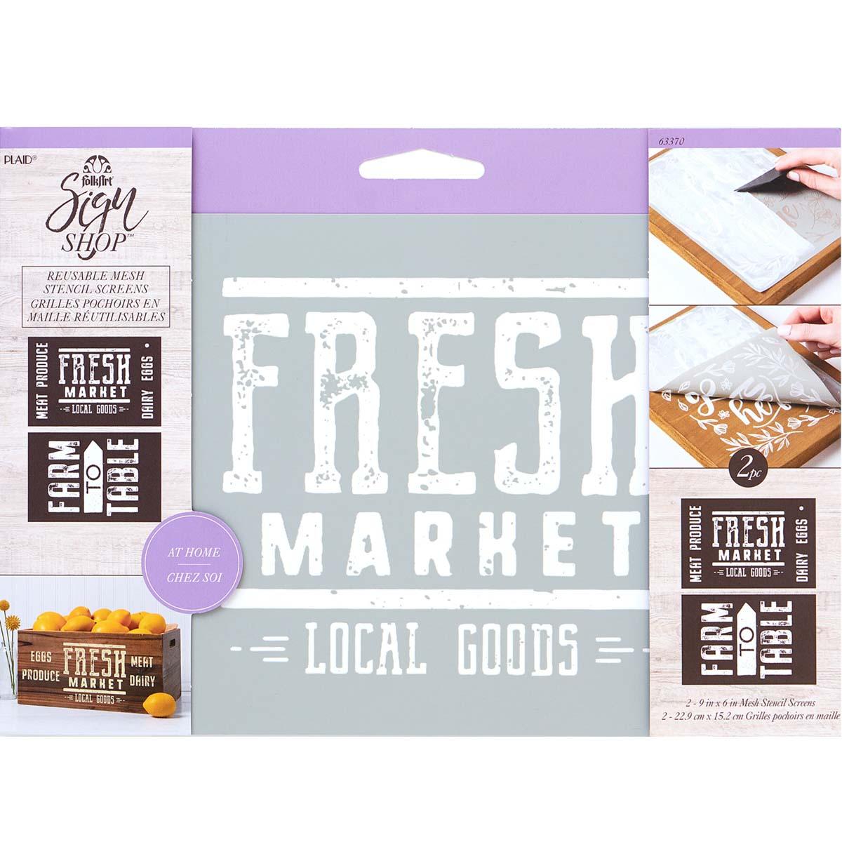FolkArt ® Sign Shop™ Mesh Stencil - Fresh Farm, 2 pc. - 63370