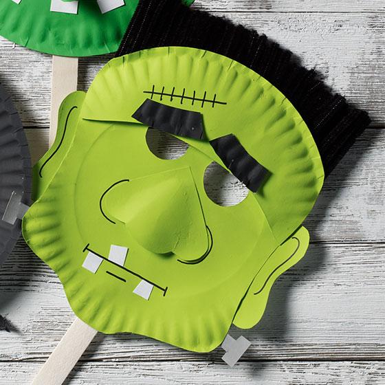 Halloween Paper Plate Mask: Frankenstein