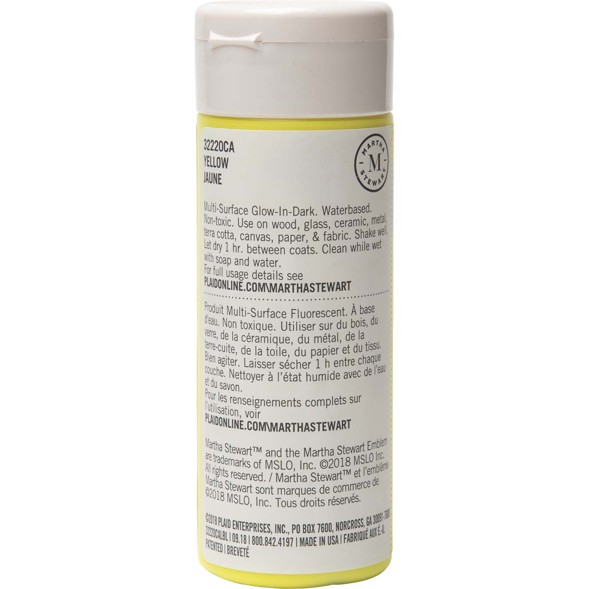 Martha Stewart ® Multi-Surface Glow-in-the-Dark Acrylic Craft Paint - Yellow, 6 oz. - 32220CA