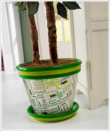 'Think Green' Clay Pot