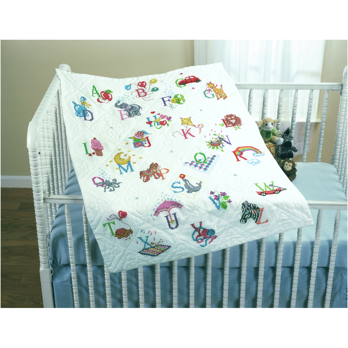 Bucilla ® Baby - Stamped Cross Stitch - Crib Ensembles - Alphabet Dreams - Quilt Top