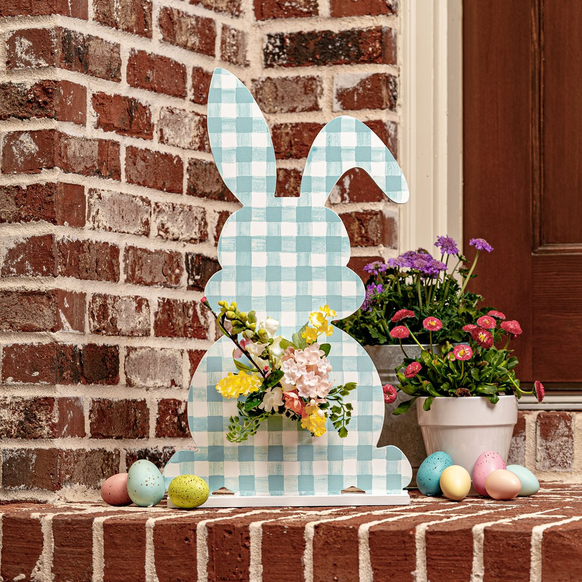 Large Gingham Easter Wooden Bunny
