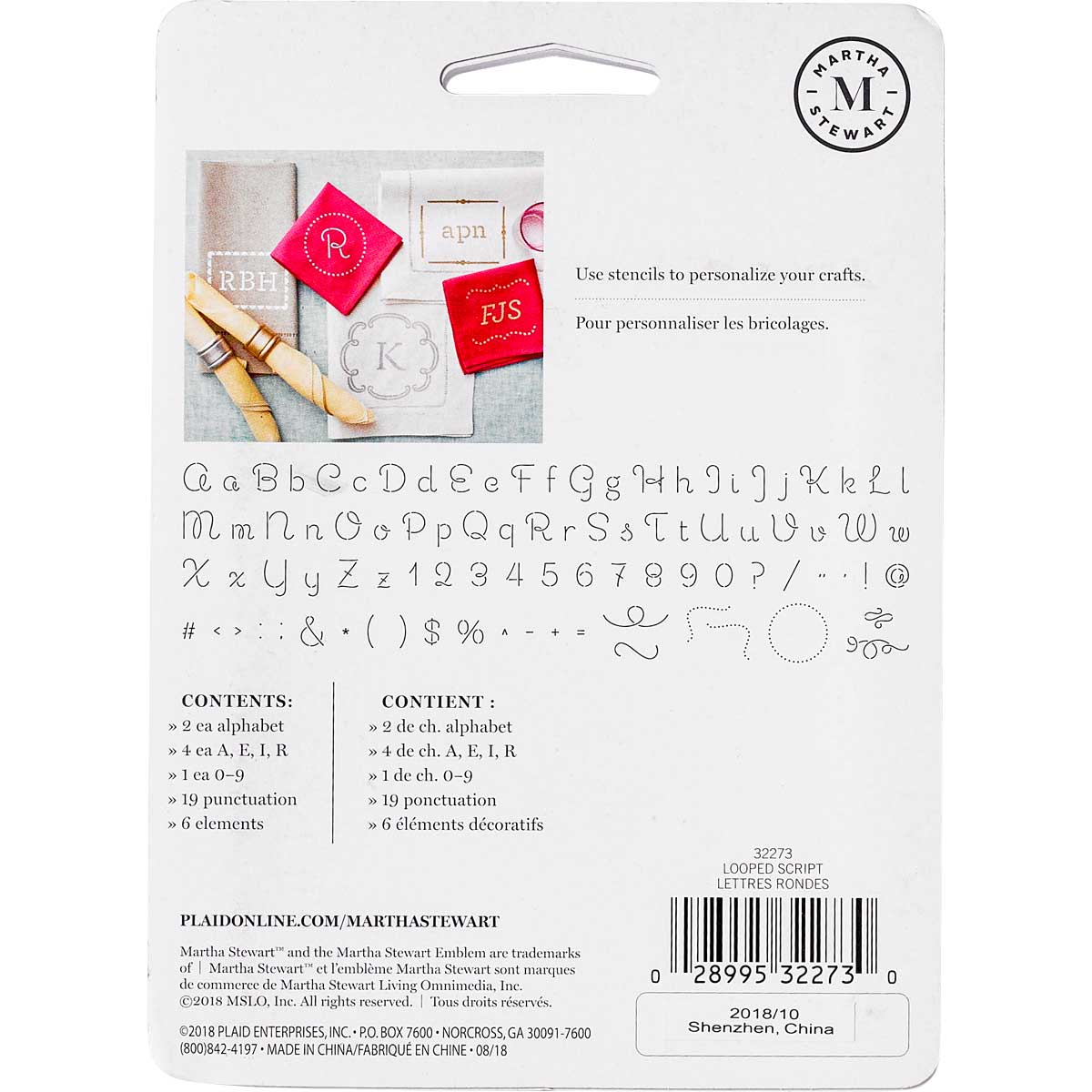 Martha Stewart® Looped Script Alphabet  Stencil Set 48pc