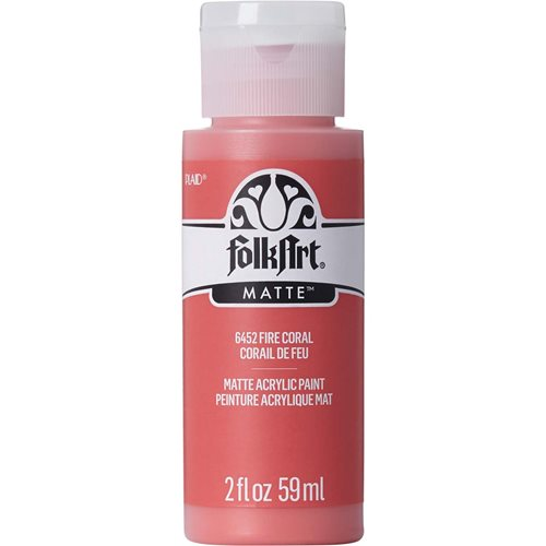 FolkArt ® Acrylic Colors - Fire Coral, 2 oz.