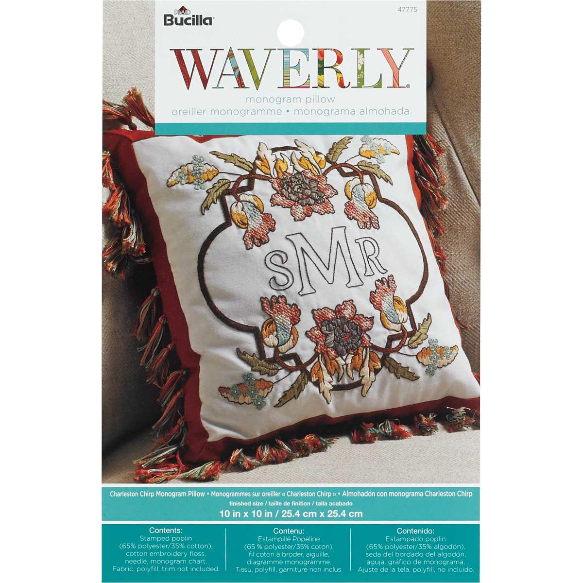 Bucilla Waverly Charleston Chirp Collection Stamped Pillow