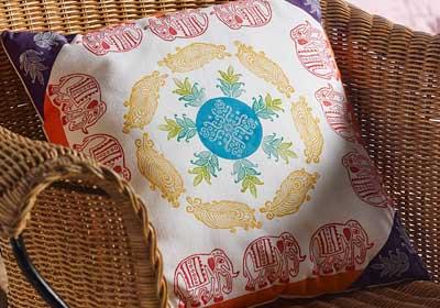 DIY Stamped Fabric Throw Pillow