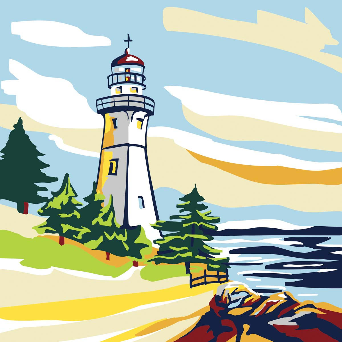 Plaid ® Let's Paint™ Modern Paint-by-Number - Lighthouse - 17881