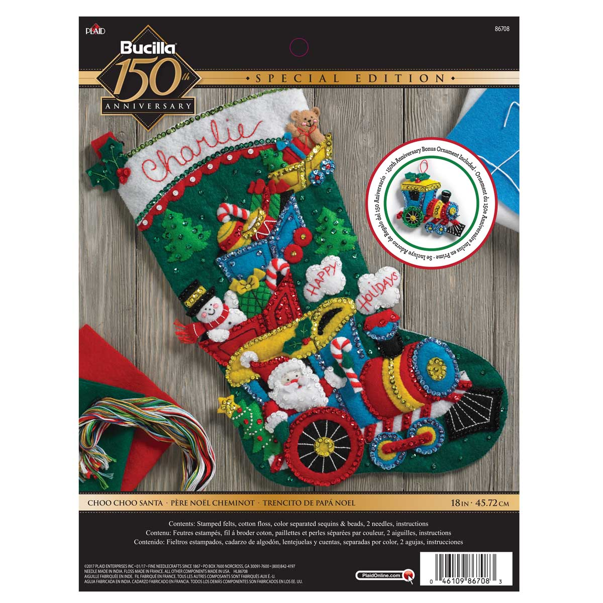 Bucilla ® Seasonal - Felt - Stocking Kits - Choo Choo Santa