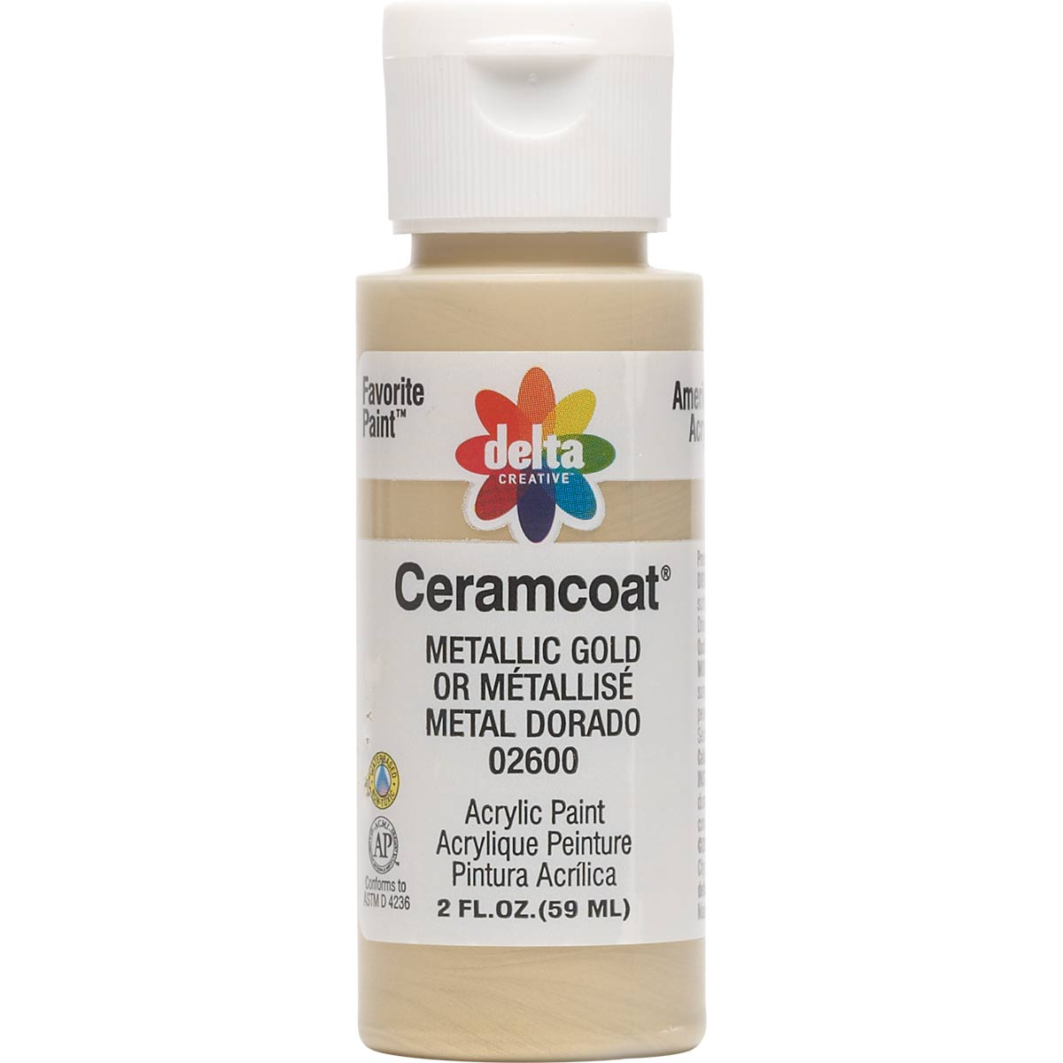 Delta Ceramcoat ® Acrylic Paint - Metallic Gold, 2 oz. - 026000202W