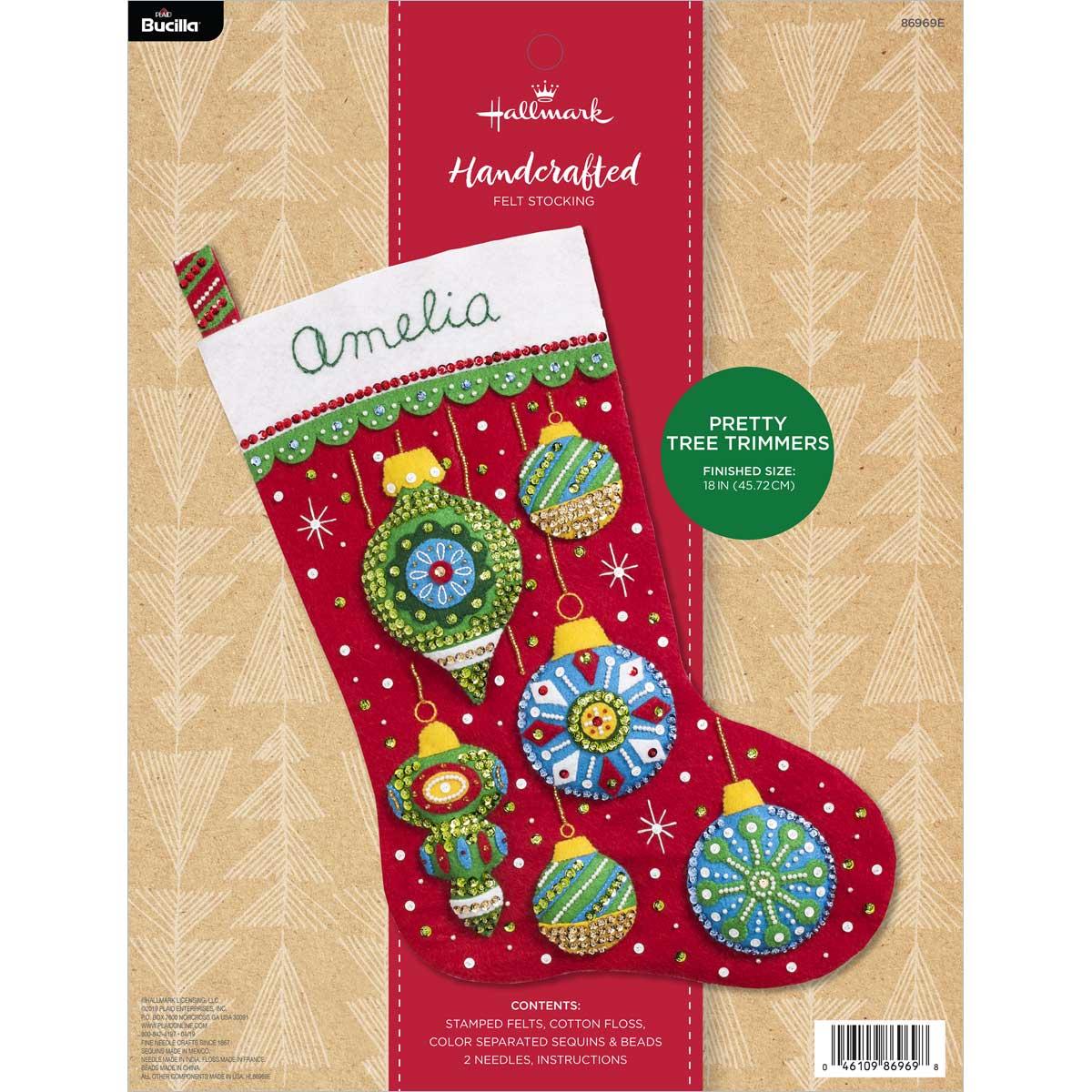 Bucilla ® Seasonal - Felt - Stocking Kits - Hallmark - Pretty Tree Trimmers - 86969E
