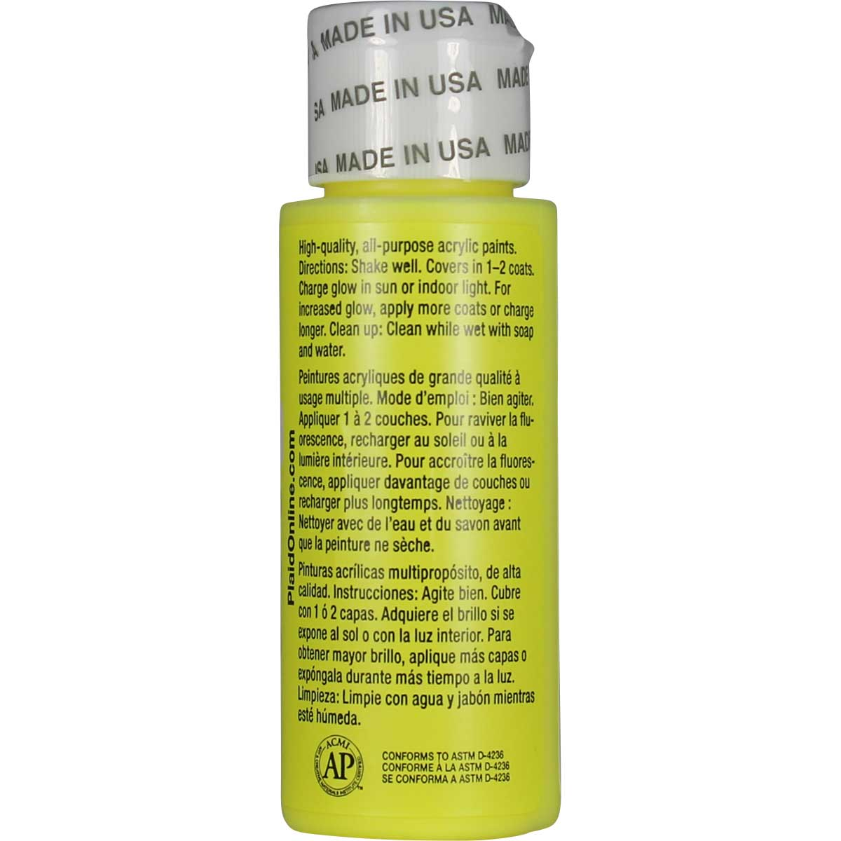 Apple Barrel ® - Glow-In-The-Dark Yellow, 2 oz. - 20485