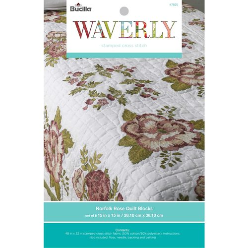 Bucilla ® Waverly ® Norfolk Rose Antique Collection Stamped Quilt Blocks