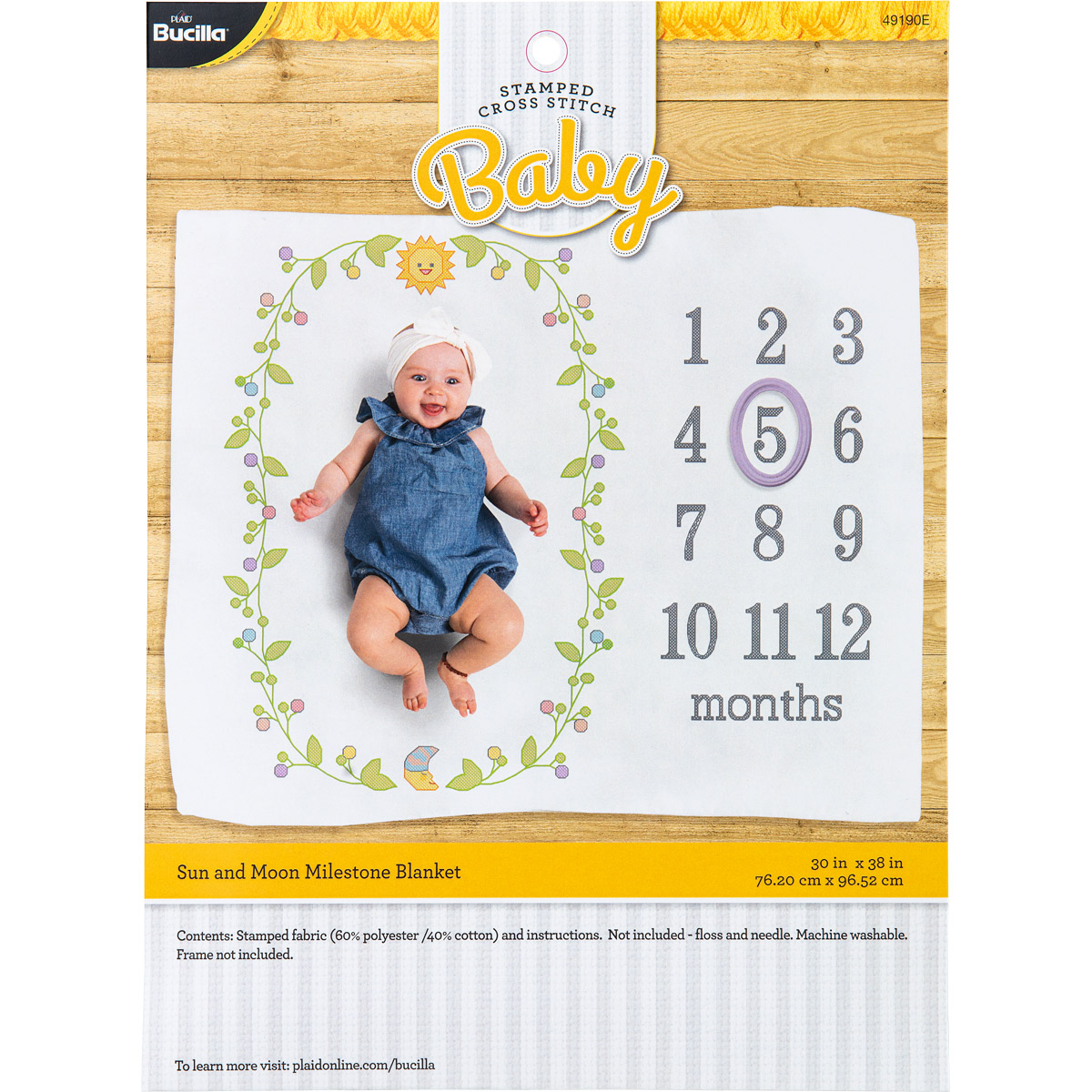 Bucilla ® Baby - Stamped Cross Stitch - Milestone Blanket, Sun and Moon