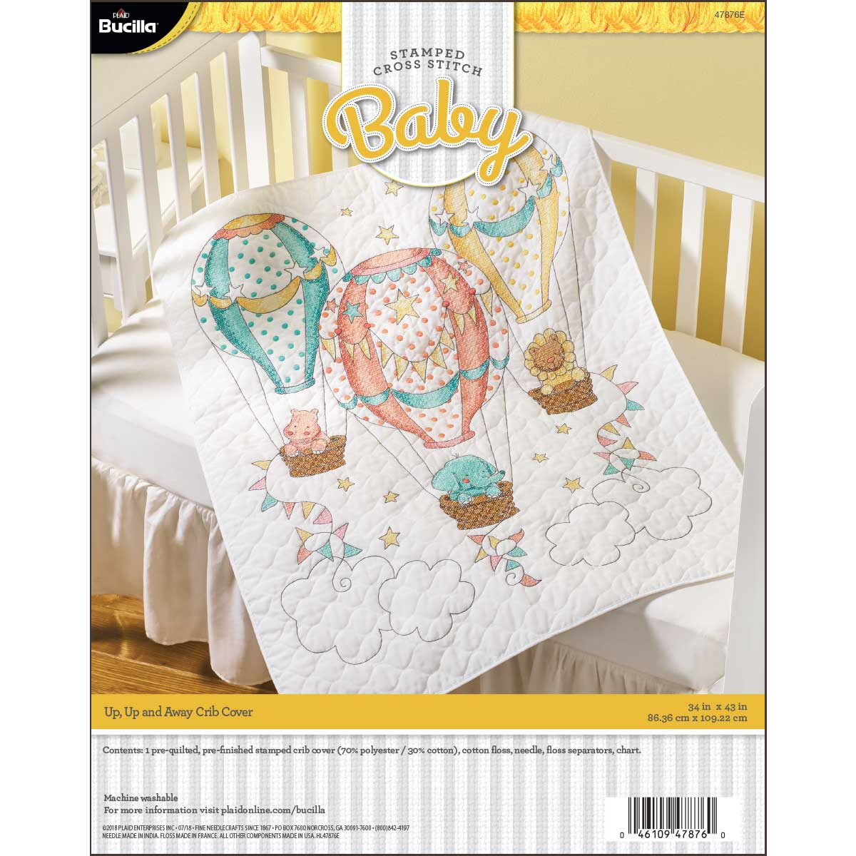 Bucilla ® Baby - Stamped Cross Stitch - Crib Ensembles - Up Up and Away - Crib Cover - 47876E