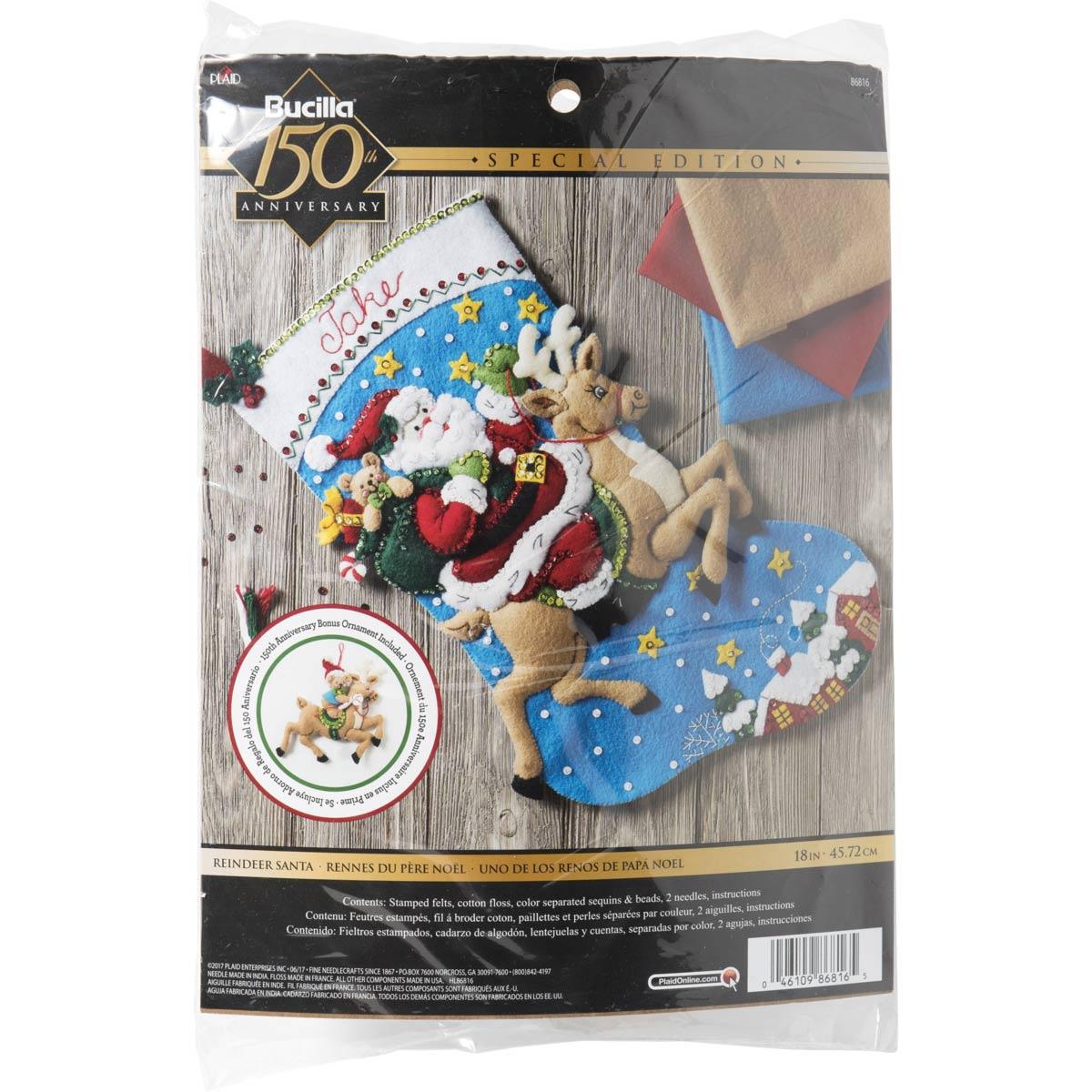 Bucilla ® Seasonal - Felt - Stocking Kits - Reindeer Santa - 86816