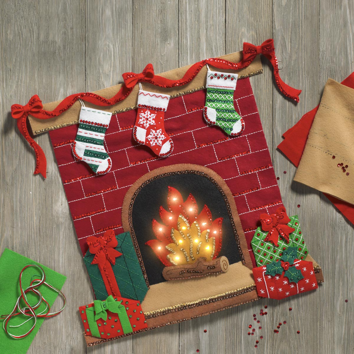 Bucilla ® Seasonal - Felt - Home Decor - Fireside Glow Wall Hanging with Lights