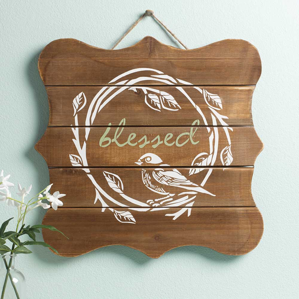 FolkArt ® Painting Stencils - Adhesive Laser - Blessed - 71958