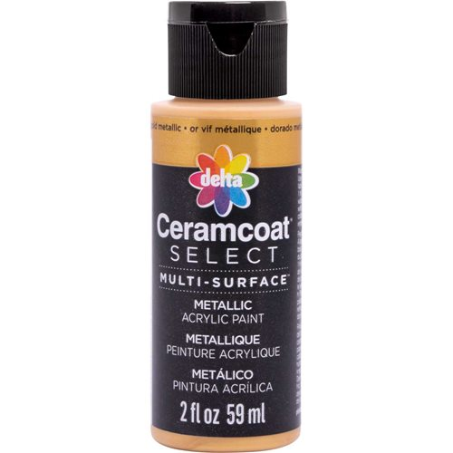 Delta Ceramcoat ® Select Multi-Surface Acrylic Paint - Metallic - Bold Gold, 2 oz.