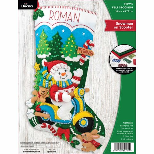 Bucilla ® Seasonal - Felt - Stocking Kits - Snowman on Scooter - 89304E