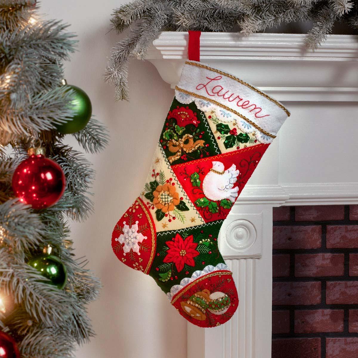 Bucilla ® Seasonal - Felt - Stocking Kits - Elegant Patchwork - 89261E
