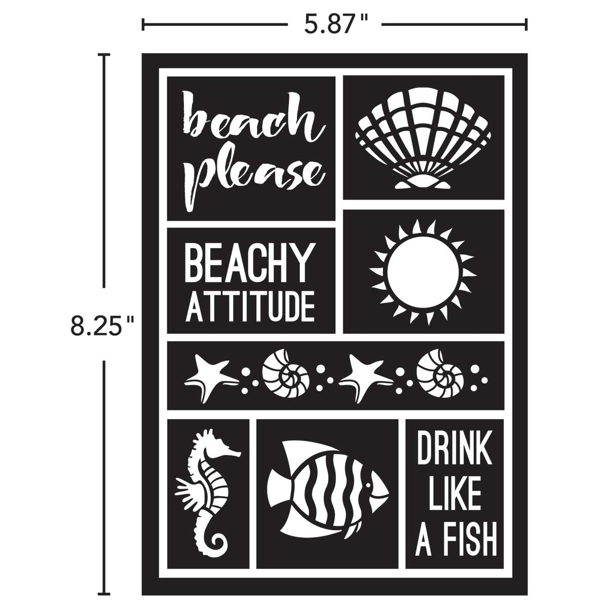 FolkArt ® Peel & Stick Painting Stencils - Beach Attitude - 71943