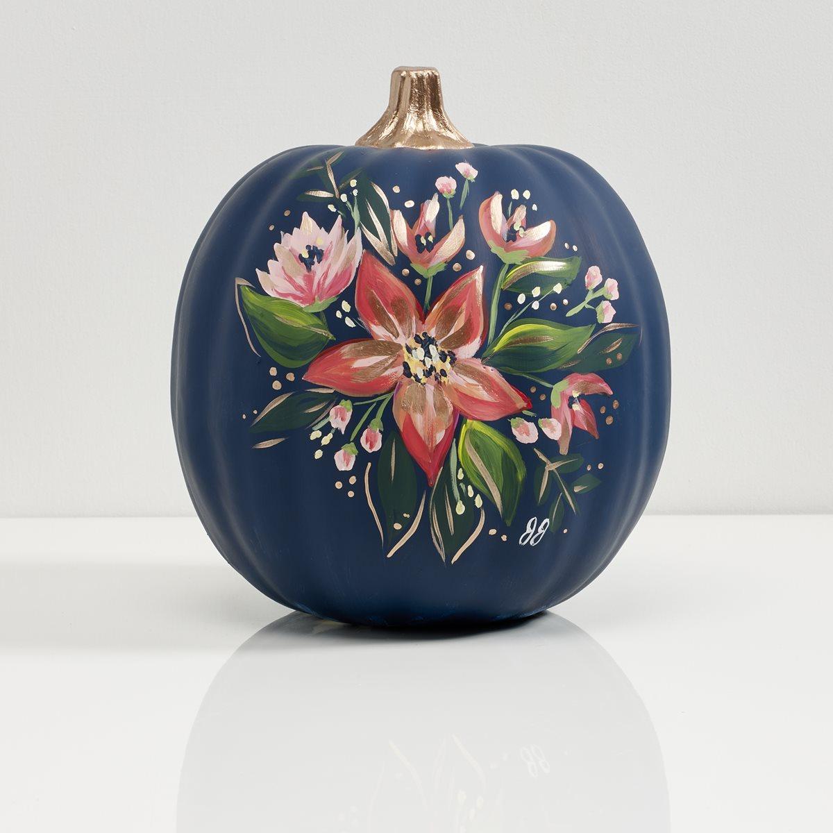 Navy Floral Pumpkin