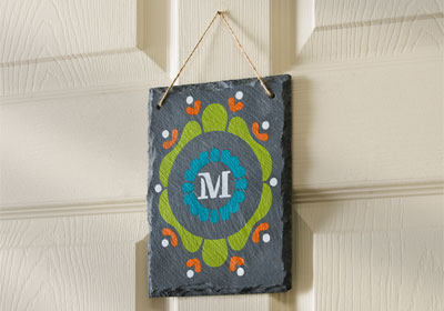 Monogrammed Frame Hanging Slate with FolkArt Multi-Surface Paints