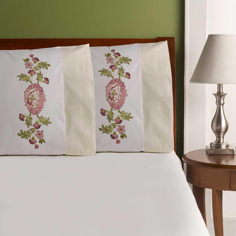Bucilla ® Waverly ® Norfolk Rose Antique Collection Stamped Pillowcase Pair