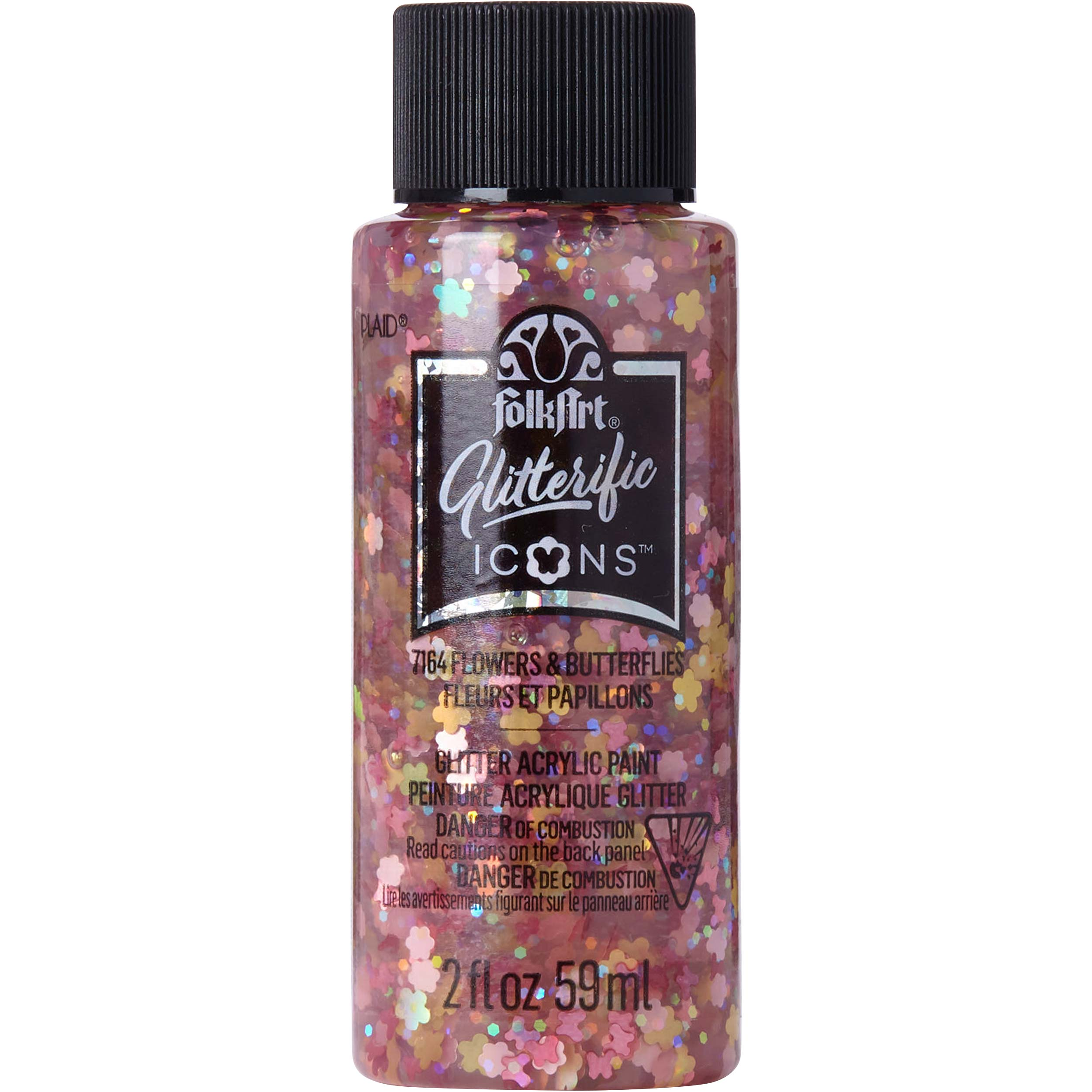 FolkArt ® Glitterific™ Icons Acrylic Paint - Flowers and Butterflies, 2 oz. - 7164