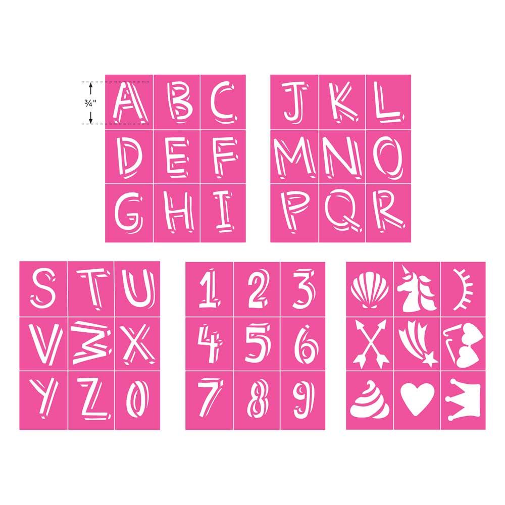 LaurDIY ® Peel & Stick Stencils - Mini - Unicorn Whimsy