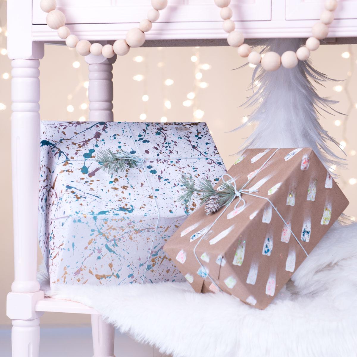 Brush Stroke and Splattered Gift Wrap
