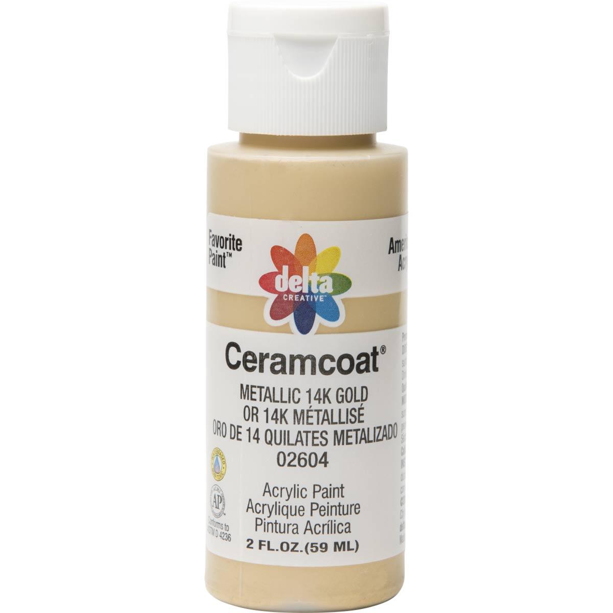 Delta Ceramcoat ® Acrylic Paint - Metallic 14K Gold, 2 oz.