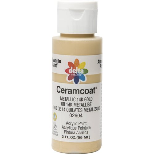 Delta Ceramcoat ® Acrylic Paint - Metallic 14K Gold, 2 oz. - 026040202W