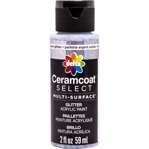 Delta Ceramcoat ® Select Multi-Surface Acrylic Paint - Glitter - Chunky Silver, 2 oz. - 04116