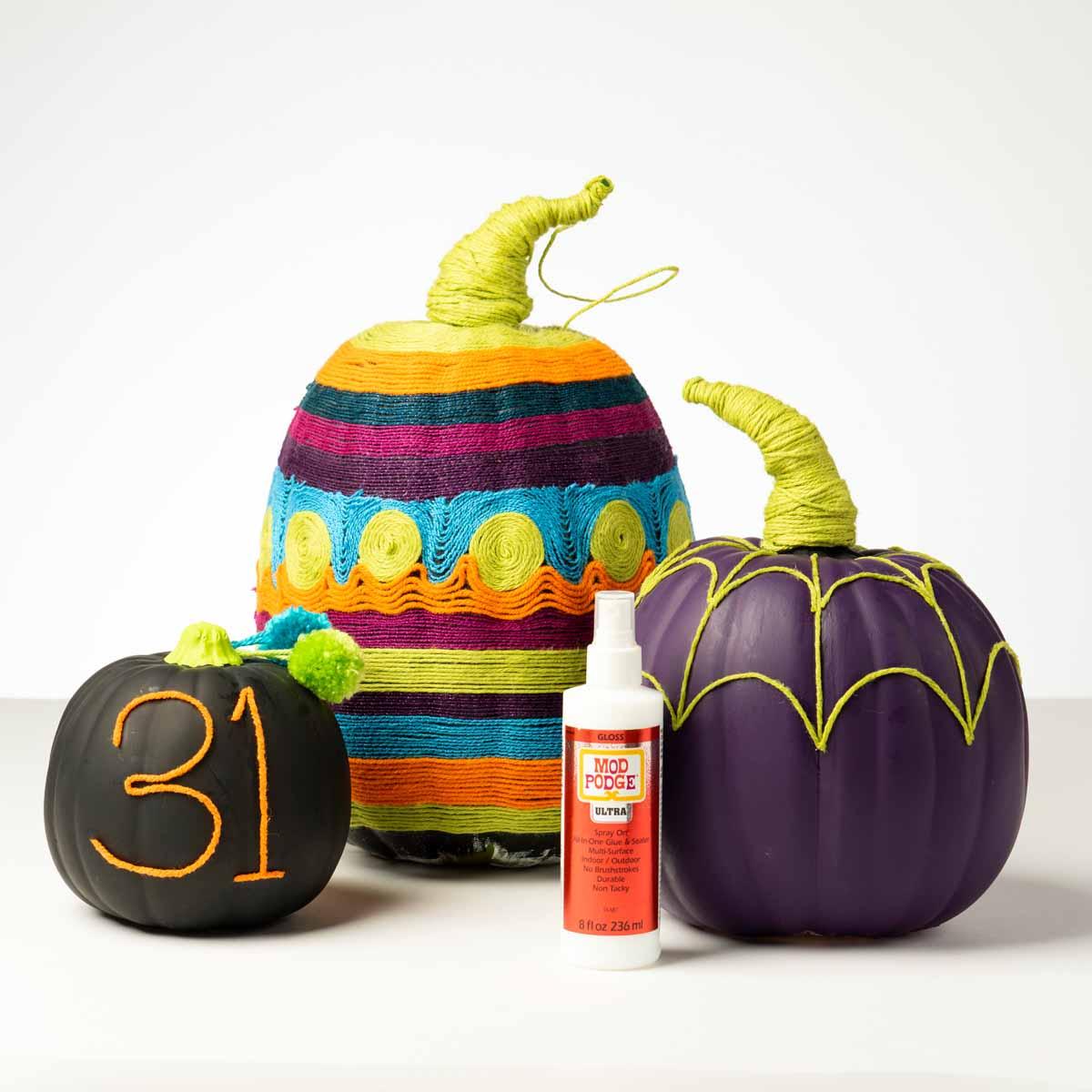 Mod Podge Ultra Yarn Painting Pumpkins