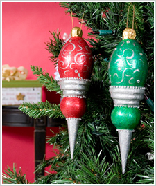 Classic Red and Green Glitter Ornaments