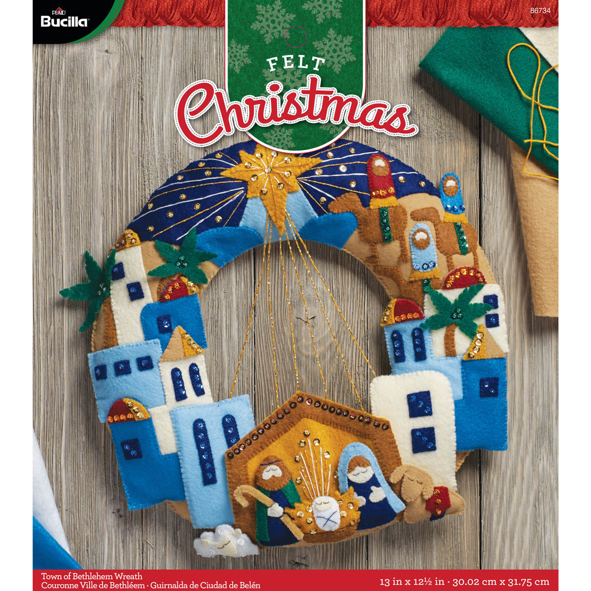 Bucilla ® Seasonal - Felt - Home Decor - Town of Bethlehem Wreath - 86734