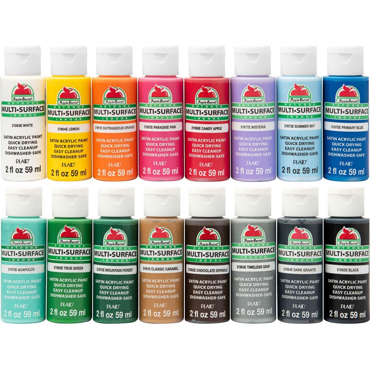 Apple Barrel ® Multi-Surface Satin Acrylic Paint 16 Color Set - PROMOABMS1