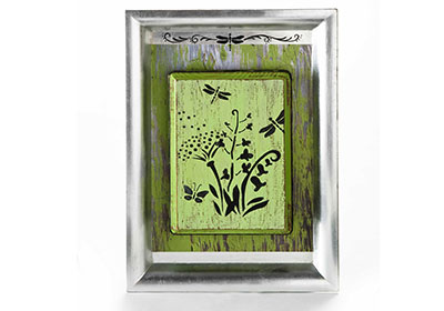 Distressed Wildflowers Tray Art with FolkArt Paints and Stencils