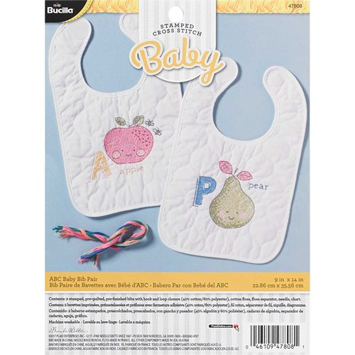 Bucilla ® Baby - Stamped Cross Stitch - Crib Ensembles - ABC Baby - Bib Pair Kit - 47808