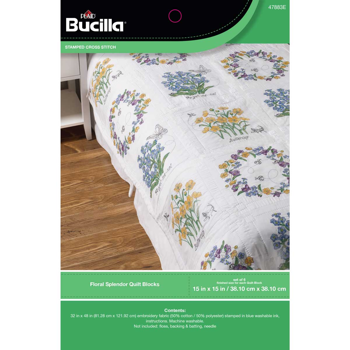 Bucilla ® Stamped Cross Stitch - Quilt Blocks - Floral Splendor - 47883E