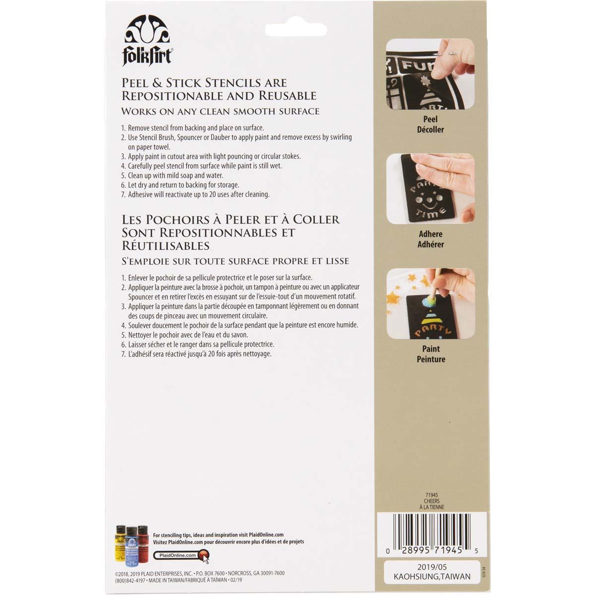 FolkArt ® Peel & Stick Painting Stencils - Cheers - 71945