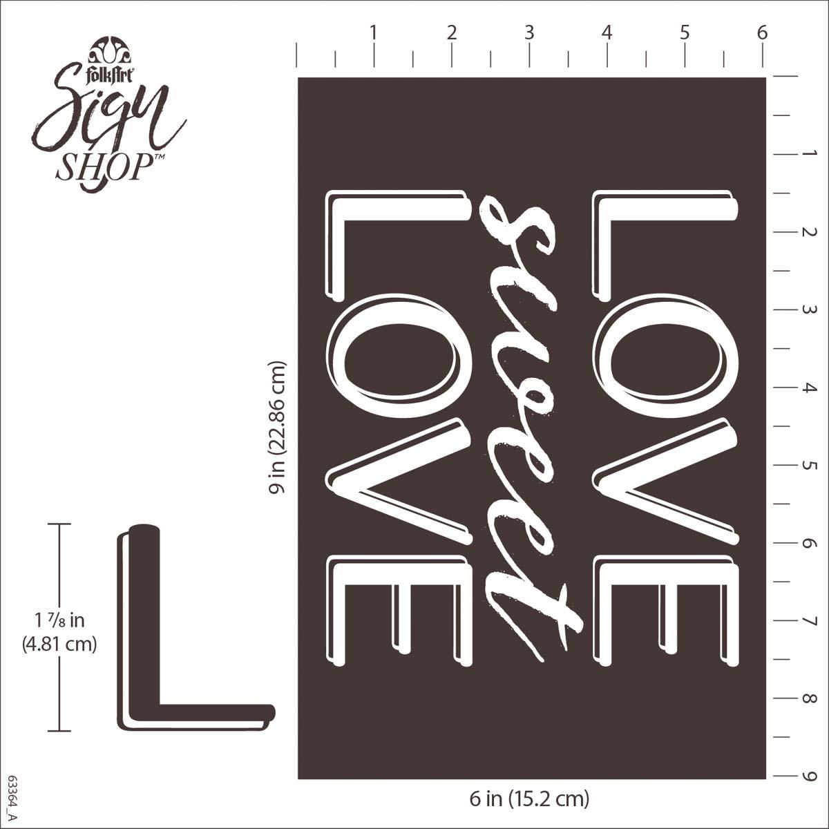 FolkArt ® Sign Shop™ Mesh Stencil - Sweet Love, 2 pc. - 63364