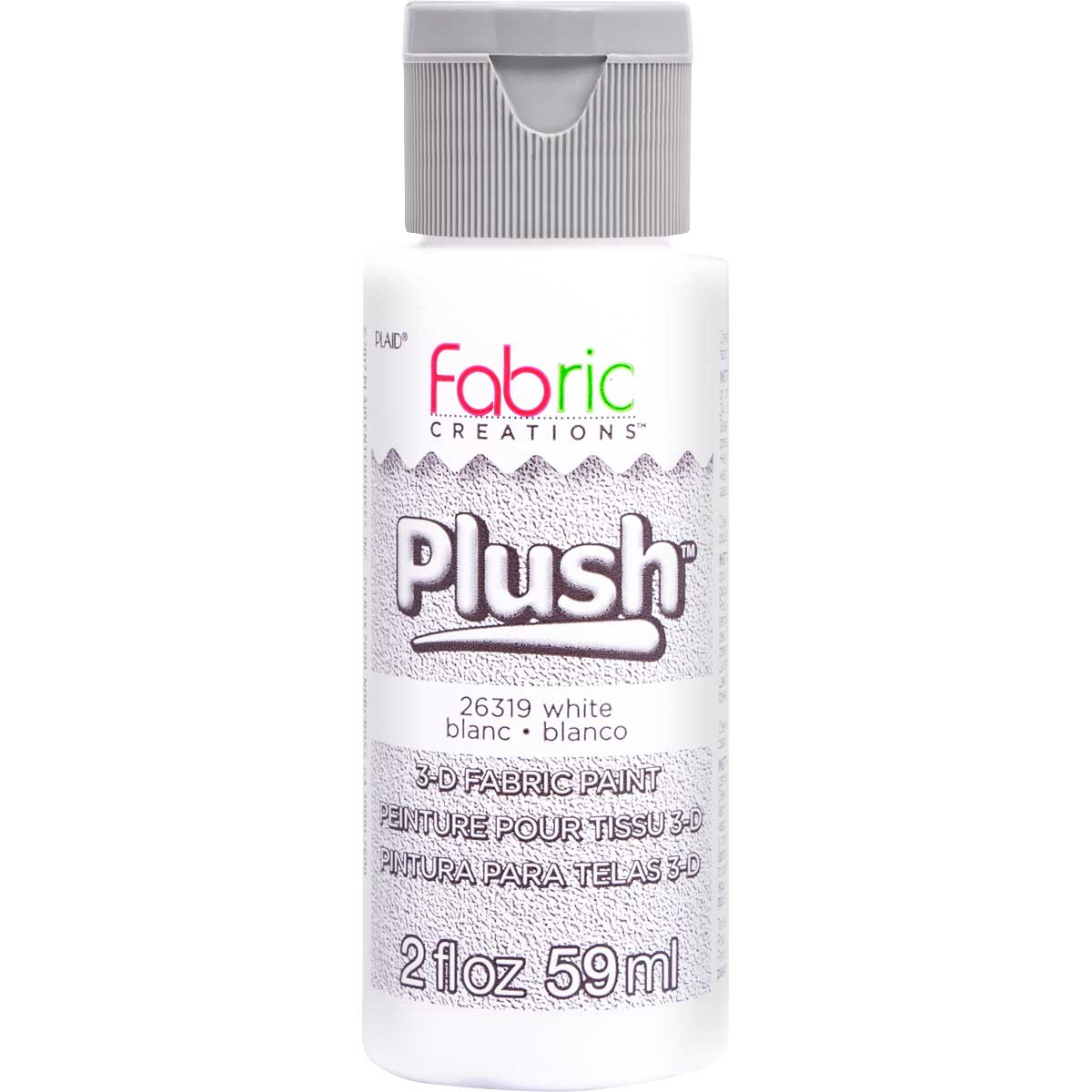 Fabric Creations™ Plush™ 3-D Fabric Paints - White, 2 oz.