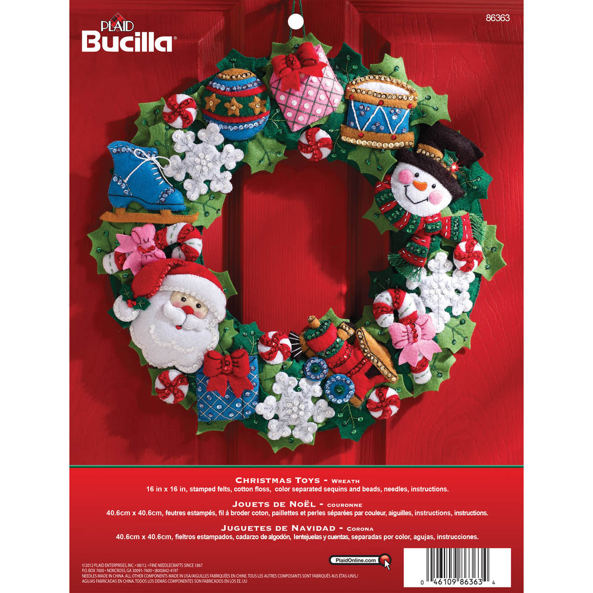 Bucilla ® Seasonal - Felt - Home Decor - Christmas Toys Wreath - 86363