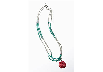 Southwest Rose and Turquoise Necklace