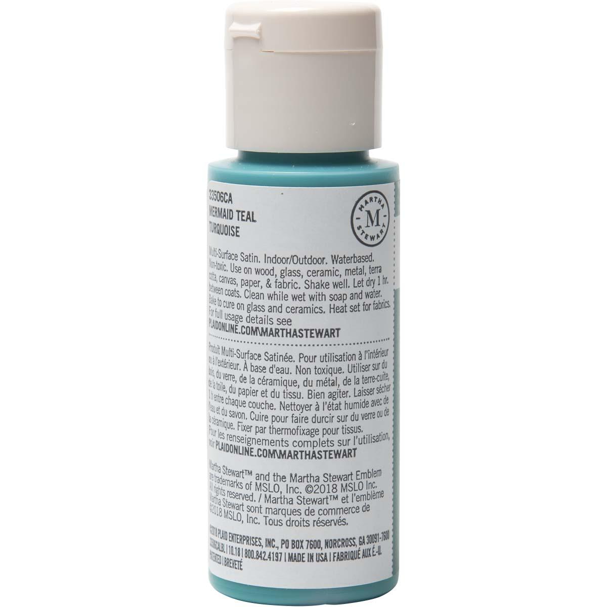 Martha Stewart ® Multi-Surface Satin Acrylic Craft Paint - Mermaid Teal, 2 oz. - 33506CA
