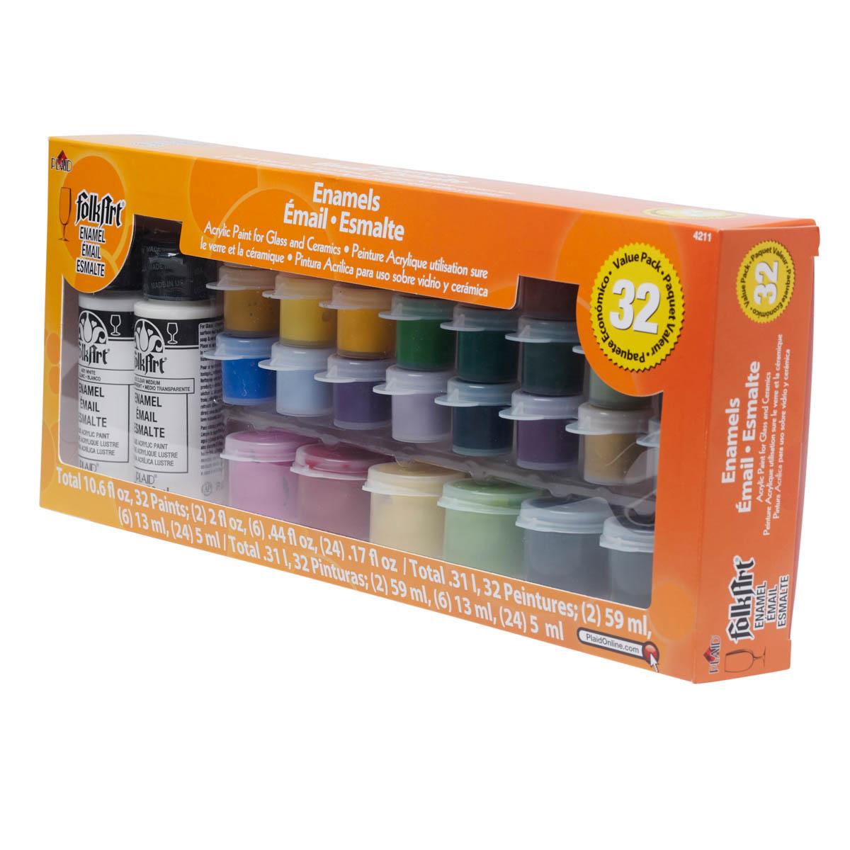 FolkArt ® Enamels™ Paint Sets - Value Pack, 32 Color